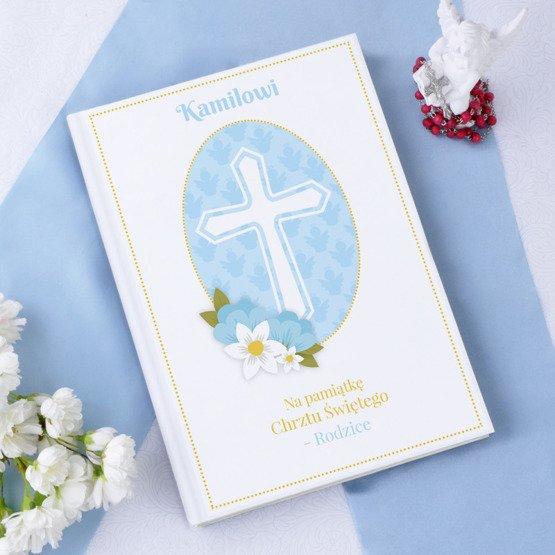 Biblia - Pamiątka Chrztu - krzyż