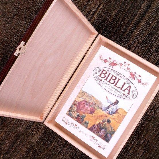 Biblia w drewnianym pudełku - Pamiatka Pierwszej Komunii Św - Kielich