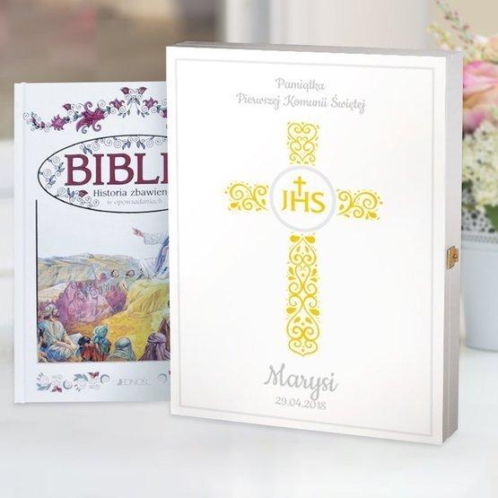 Biblia w drewnianym pudełku - krzyż z hostią IHS