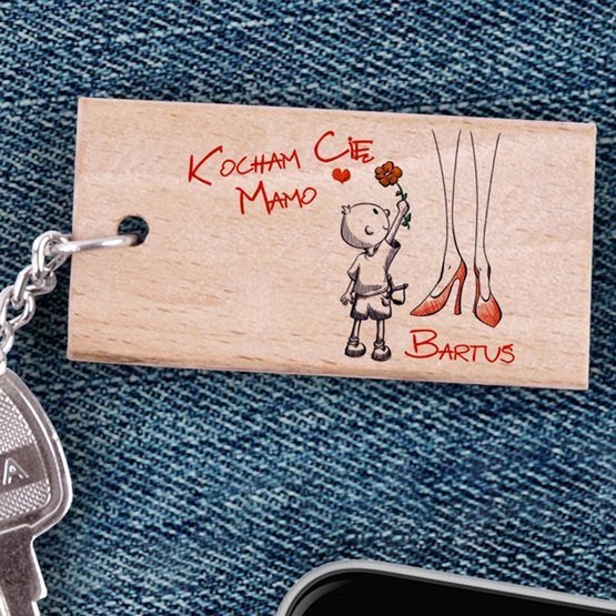 Brelok drewniany - Kocham Cię Mamo - od syna