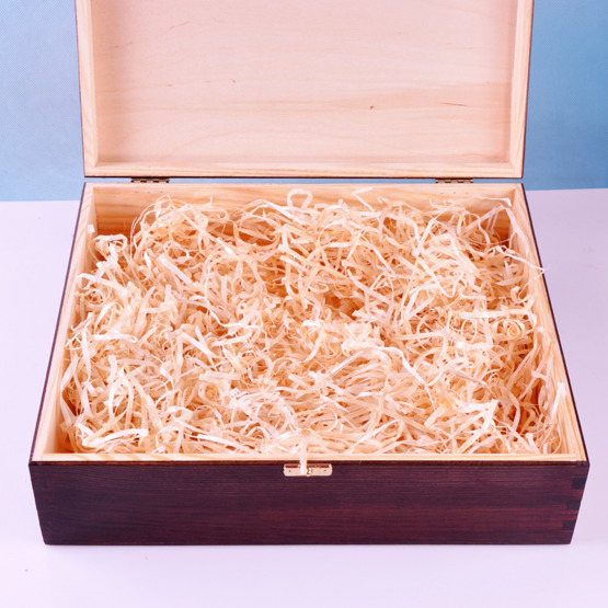 Drewniane pudełko prezentowe z okazji ślubu - Obrączki