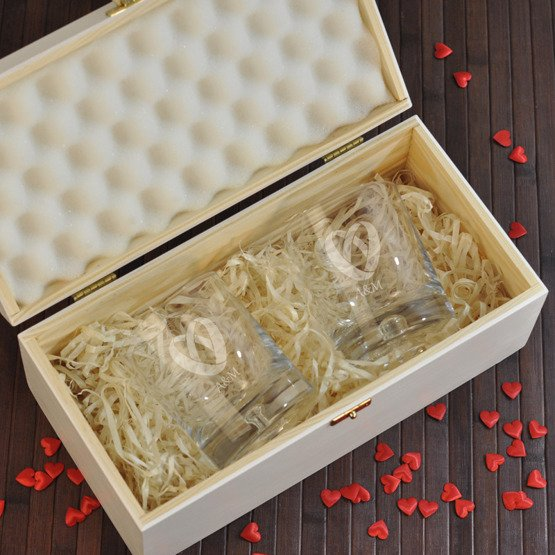 """Dwie szklanki w pudełku na ślub- """"Obrączki"""""""
