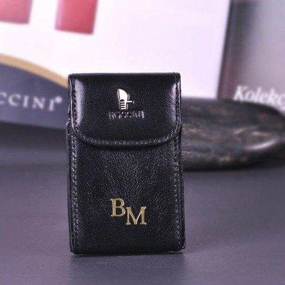 Etui na wizytówki/karty PUCCINI czarne z inicjałami