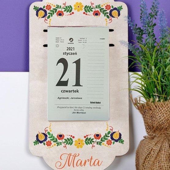 Kalendarz na deseczce z nadrukiem- folklor