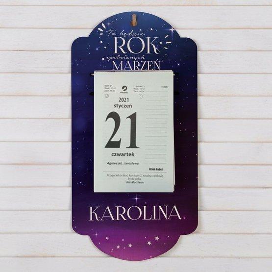 Kalendarz na deseczce z nadrukiem- rok marzeń