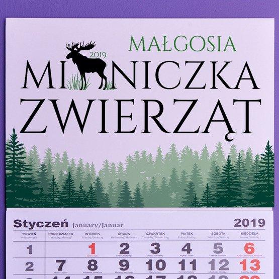Kalendarz ścienny z nadrukiem- Miłośnik zwierząt