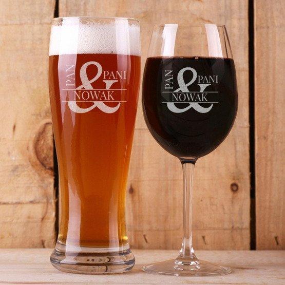 Kieliszek do wina i szklanka do piwa - Pan i Pani