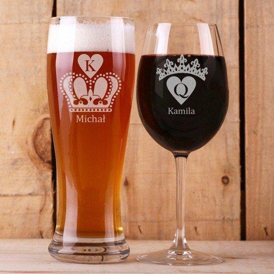 Kieliszek do wina i szklanka do piwa - korony