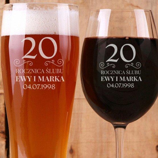 Kieliszek do wina i szklanka do piwa - prezent na rocznicę ślubu