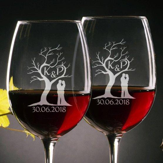 Kieliszki do wina - drzewo miłości