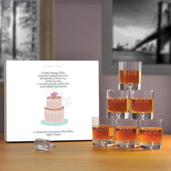 "Komplet sześciu szklanek w pudełku na ślub- ""Tort"""