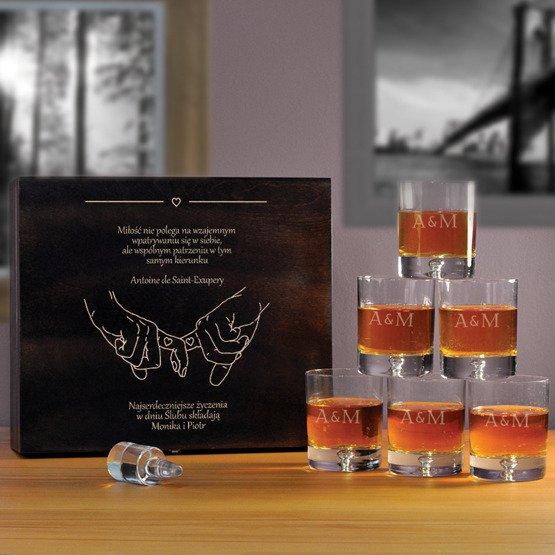 """Komplet szklanek w pudełku na ślub- """"Splecione ręce"""""""