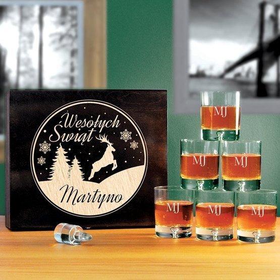 Komplet szklanek w pudełku z grawerem- Wesołych Świąt + Inicjały
