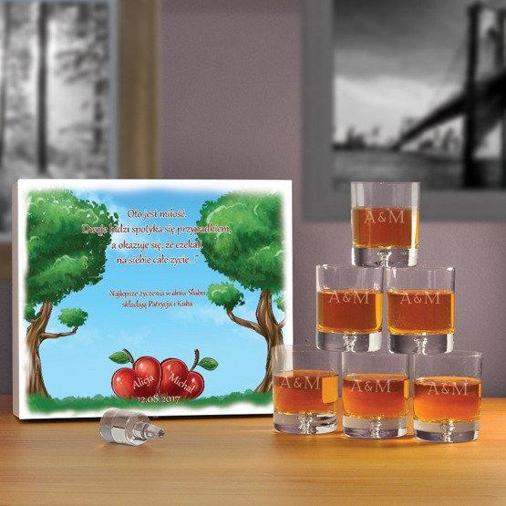 "Komplet szklanek w pudełku z nadrukiem- ""Jabłonka"""
