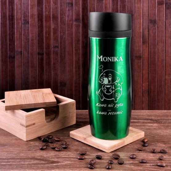 Kubek termiczny zielony - kawa rozumie