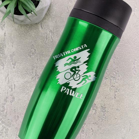 Kubek termiczny zielony - triathlon