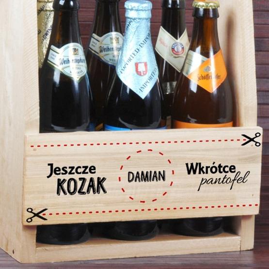 """Nosidełko na piwo """"Jeszcze kozak, wkrótce pantofel"""""""