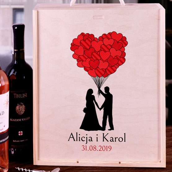 Pudełko na trzy wina dla pary