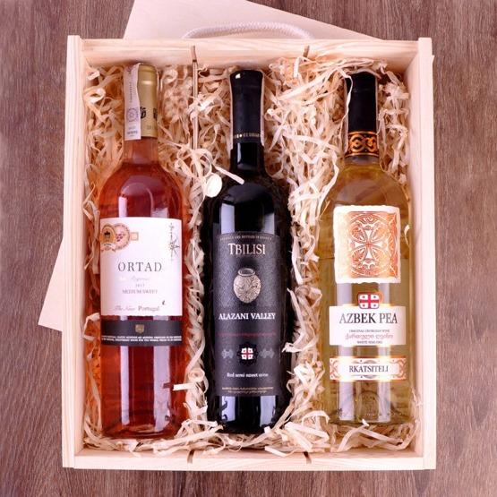 Pudełko na trzy wina  dla pary - drzewo