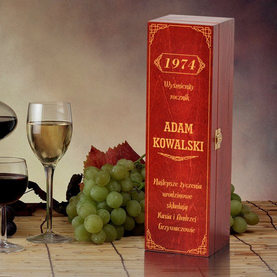 """Pudełko na wino- """"Wyśmienity rocznik"""""""