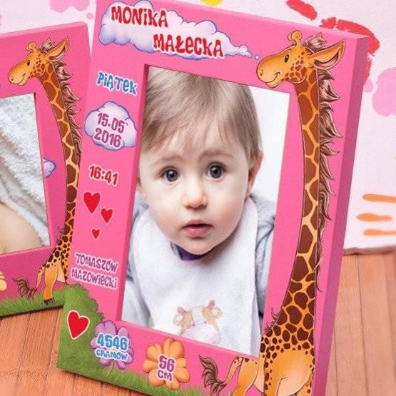 Ramka na zdjęcie- metryczka z żyrafą
