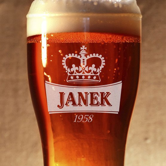 Szklanka do piwa - Z koroną- prezent urodzinowy