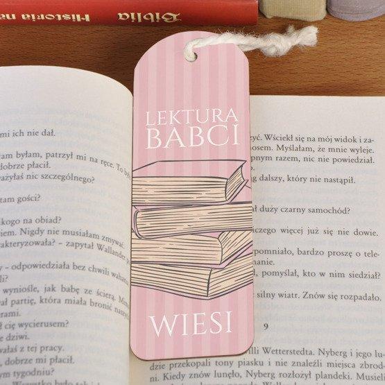 Zakładka do książki ze sznureczkiem - Lektura Babci