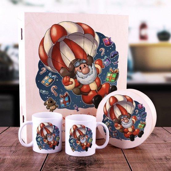 Zestaw 2 kubki + pudełko z herbatą i krówkami w skrzynce z nadrukiem na Święta