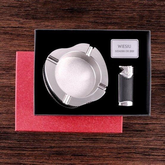Zestaw prezentowy: zapalniczka z popielniczką dla dziadka od...